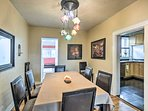 Share a family meal around the 8-person dining table.