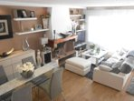 Loft with double bed, futon and bathroom.