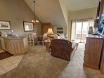 Bright, open layout at Buffalo Lodge, with vaulted ceilings.