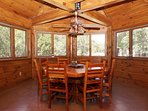 Eat in at the fantastic octagonal dining table!
