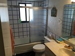 Second bathroom with shower and tub.