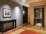 An elevator leads directly to your door.