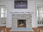 Ornamental fireplace in living room.