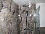 Rain forest shower in upstairs bathroom.