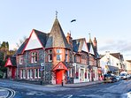 Aberfoyle Main Street, where you can find shops, post office, pubs cafes and shops