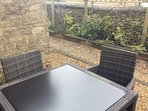 Outside seating in the courtyard for relaxing or dining