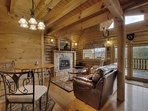 Great Room with Log Interior
