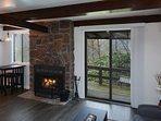 Wood Burning Fireplace. Outdoor Patio Area with Swing