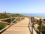 The board walk through the dunes to the beaches and Cabopino Port. 4 minutes walk from the villa.