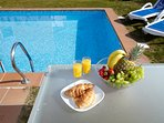 breakfast by the south facing pool