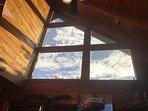 Big windows looking at Bluff Mountain