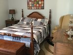 Bedroom 2 - Comfy Queen Mattress with nightstand and antique oak dresser and mirror.