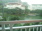 View from balcony of my condo unit. You can see lagoon, other buildings and the sea and beach.