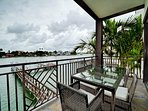 2nd floor balcony has seating for 6 guests and a panoramic view.