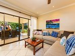 living area, sectional sofa, access to terrace and pool