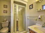 Wash up in the large walk-in shower.