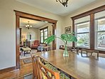 The formal dining room is ideal for sharing group meals.