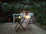 decking with built in camp fire, BBQ and area for a camping stove
