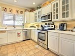 Utilize stainless steel appliances to whip up a masterpiece.