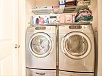 You can pack light and use the washer and dryer to re-wear clothing.