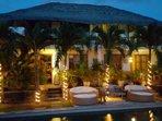 evening lights around the pool