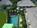 Drone View over pool and buildings