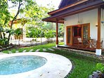 Bungalow 1 - entrance, terrace and pool