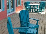 Seaduction's Front Deck...Table w/4 Chairs, Sm. Table w/2 Chairs.