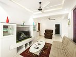 here is our cozy living room, this area will greet you upon entering and make you feel right at home