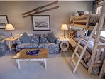 All of this extra sleeping and sitting area make this a great vacation property. The bunk beds sleep two.