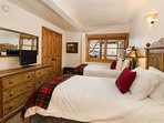 The second and third bedrooms each have 2 twin beds which can be bridged to make one king bed.  This bedroom has an...