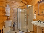 This Jack-and-Jill bathroom is shared between the loft and upstairs bedroom.