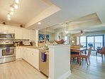 Full-size kitchen with stainless appliances