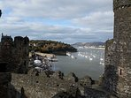 The view over looking the harbour from Conwy Castle.