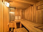 Take a short walk to the community sauna!
