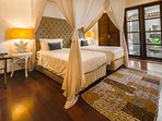 Our second bedroom can be a twin room or made up to a super sized queen bed. It has its own ensuite