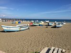 Fishing boats on Carihuela beach. The village still specialises in seafood, reflecting its history.