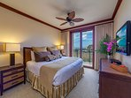 Master bedroom with king bed, flat screen TV, lanai and ocean vi