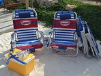 Beach chairs, cooler and snorkelsets available
