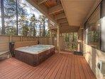 Sunriver-Vacation-Rental---30-Vine-Maple---Back-Exterior-Deck-2-(hot-tub)