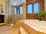 Dry off and warm up next to the Master Bathroom's gas fireplace.