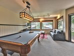 Lower Level Game Room with Pool Table, TV, and Futon