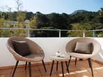 Terrace off bedroom one with beautiful mountain views