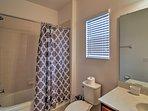 Soak away your worries in the shower/tub combo.