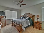 Relax on the comfortable king bed in the master.