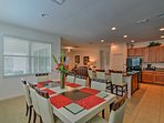 Host your special family meals at the 8-person dining table.