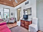 This cozy one bedroom has plenty of style with hardwood floors and wood ceiling