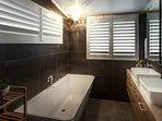 Ensuite with Bath, Double Vanity, Toilet & Double Shower