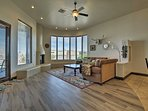 Long-view windows keep the living area brightly lit with natural light.