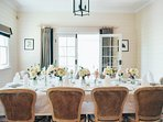 The dining room (which is an extension of the kitchen) has been seating 10 for an intimate meal.
